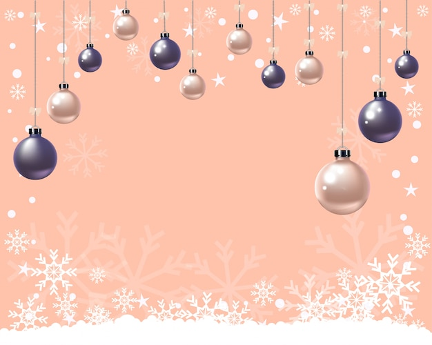 Bolas de navidad y copos de nieve en naranja pastel