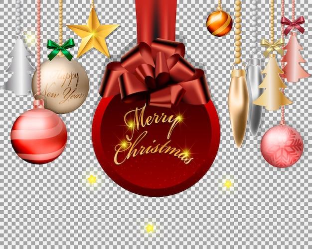Bolas de navidad y decoraciones de diseño transparente.