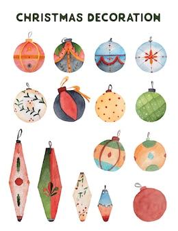 Bolas de navidad y decoraciones elementos de ilustración acuarela