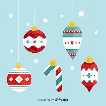 Bolas de navidad en diseño plano
