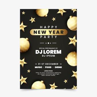 Bolas de navidad doradas y estrellas cartel de año nuevo 2020