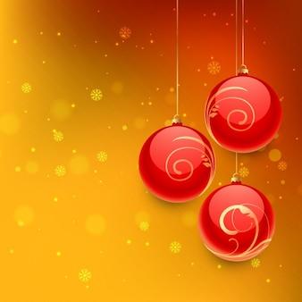 Bolas de navidad en fondo naranja