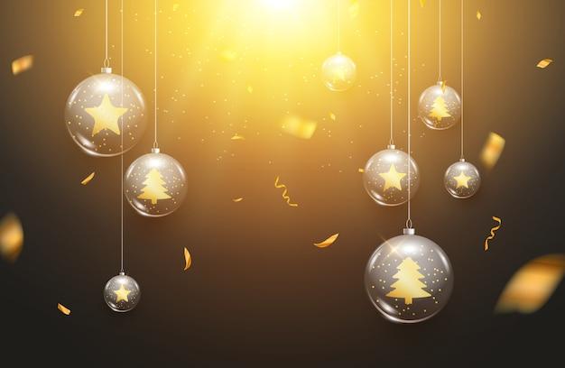Bolas de navidad de lujo fondo claro decoración tarjeta de felicitación de vacaciones. fondo de decoración de bolas de navidad de vidrio con confeti.