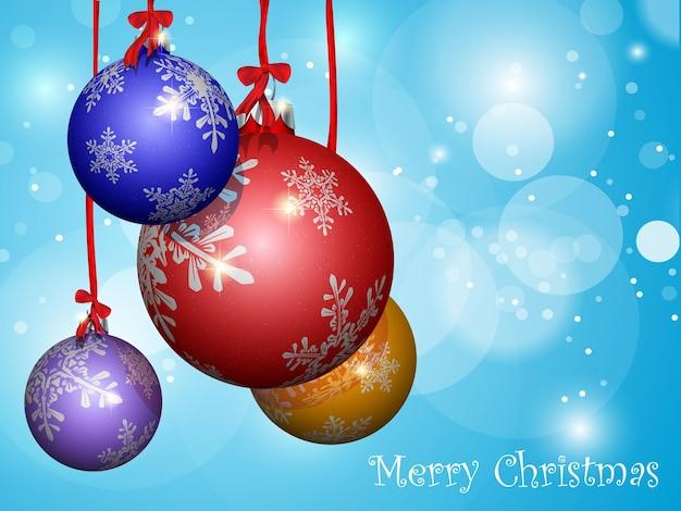 Bolas de navidad multicolores con cintas.
