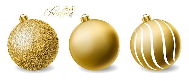 Bolas de navidad con purpurina dorada.