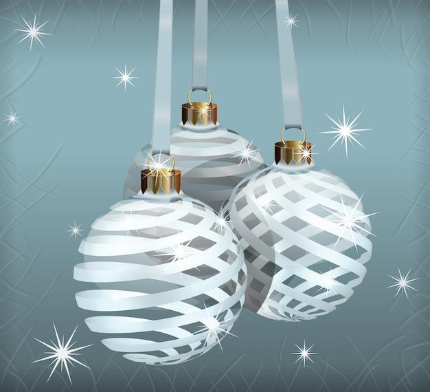 Las bolas de navidad realistas en ramas de abeto