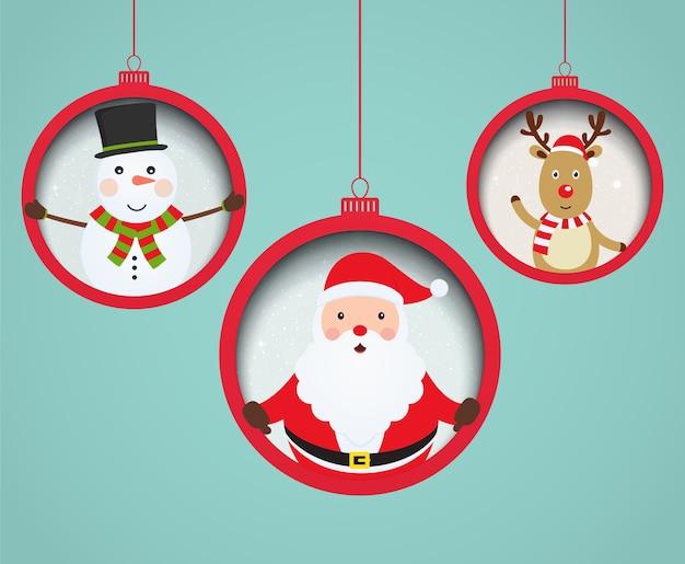 Bolas de navidad con santa claus, muñeco de nieve y ciervos dentro.