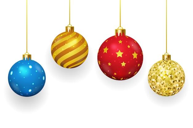 Bolas de navidad sobre fondo blanco. navidad y adornos, temporada de invierno, esfera brillante, ilustración vectorial