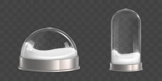 Bolas de nieve vacías con copos de nieve vector realista