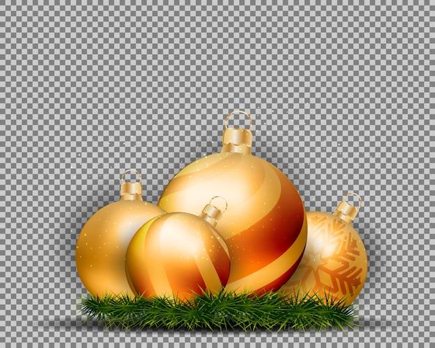 Bolas del oro de la navidad 3d aisladas en fondo transparente.