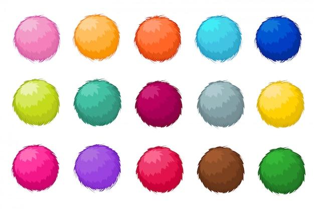 Bolas de piel de pompón mullidas coloridas aislado conjunto de vectores