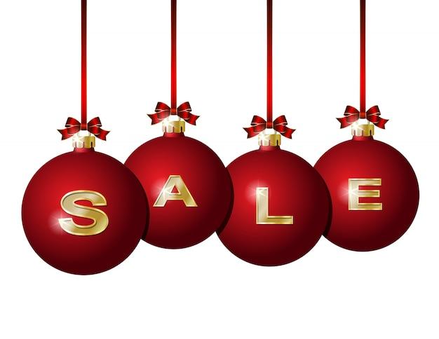 Bolas rojas de navidad con palabra dorada venta