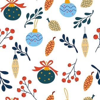 Bolas de vidrio de navidad de patrones sin fisuras dibujar a mano vidrio árbol de navidad juguetes bayas y ramitas