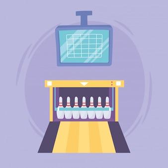 Bolera de pantalla de puntuación con pines juego deporte recreativo diseño plano ilustración vectorial