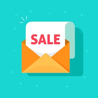 Boletín de correo electrónico venta promoción vector icono plano dibujos animados diseño