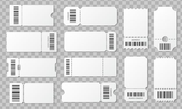 Boleto en blanco con conjunto de código de barras. plantilla para boletos de concierto, cine, teatro y embarque, lotería y cupones de descuento con bordes rizados