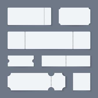 Boleto blanco s. boletos de papel de teatro de concierto, película vacía en blanco admiten cupones de uno. diseños aislados de lotería