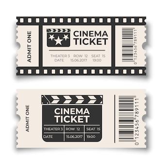 Boleto de cine blanco con conjunto de plantillas de código de barras aislado sobre fondo blanco.