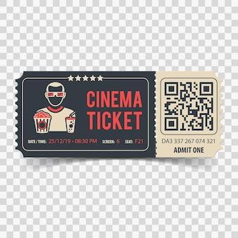 Boleto de cine con código qr, visor, palomitas de maíz y refresco
