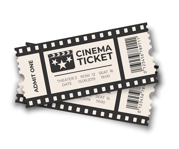 Boleto de cine superpuesto blanco con conjunto de plantillas de código de barras aislado sobre fondo blanco.