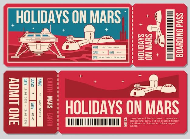 Boleto de cupón de viaje. vacaciones en la acción de promoción de marte. boleto al planeta marte.