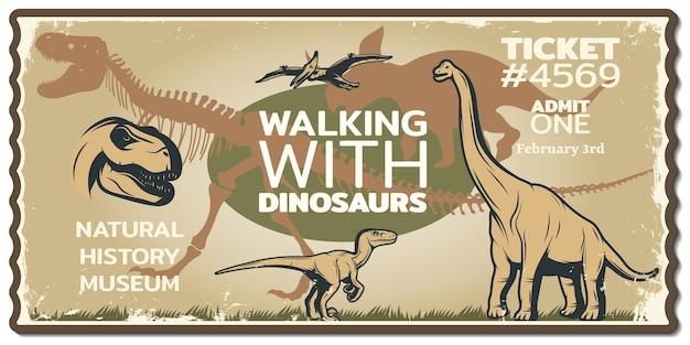 Boleto de dinosaurio sucio al museo histórico con animales de la era mesozoica en vintage