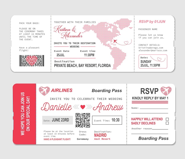 Boleto de embarque, plantilla de invitación de boda para rsvp de matrimonio, vector. obsequio de ceremonia de boda de un boleto de avión de viaje romántico o una tarjeta de embarque al paraíso de la luna de miel