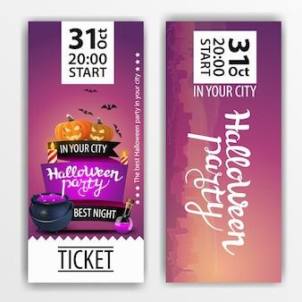 Un boleto morado para la fiesta de halloween