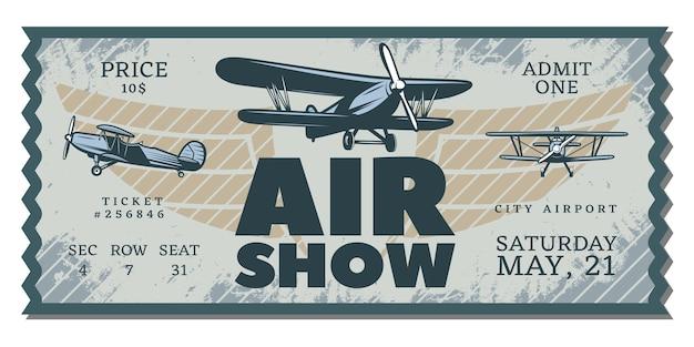Boleto de pase de exhibición aérea vintage
