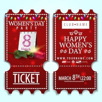Boleto rojo para la fiesta del día de la mujer con rosa.