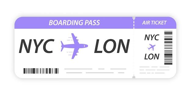 Boleto de la tarjeta de embarque de la aerolínea. billete en blanco. plantilla de billete de avión.