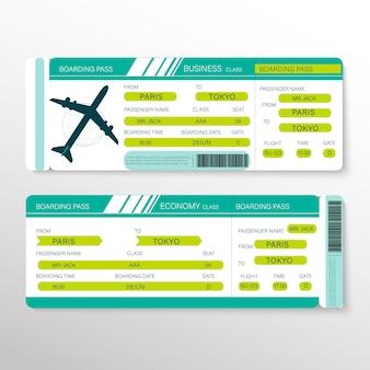 Boleto de la tarjeta de embarque de la aerolínea para viajar en avión. ilustración.