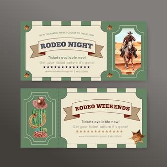 Boleto de vaquero con caballo, cactus, sombrero, desierto