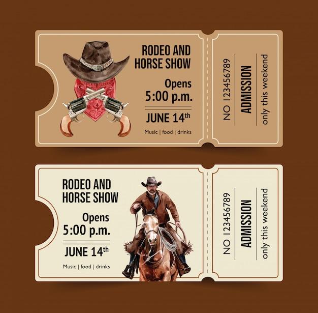 Boleto de vaquero con caballo, hombre, soga
