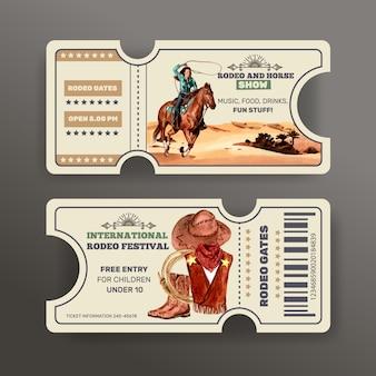 Boleto de vaquero con caballo, mujer, sombrero, botas