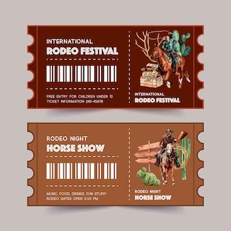 Boleto de vaquero con mujer, cuerda, cactus, cofre, caballo
