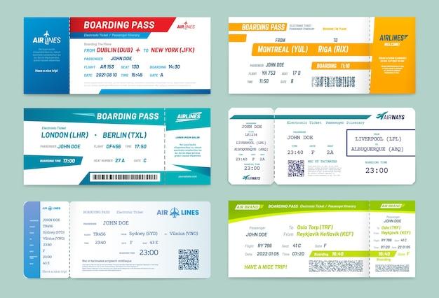 Boletos aéreos y tarjetas de embarque de aerolíneas
