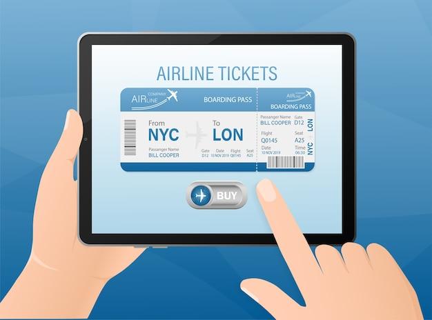 Boletos de avión en línea con las manos y la tableta. ilustración.