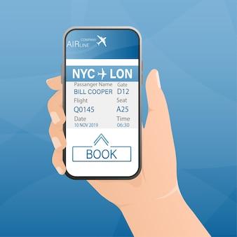 Boletos de avión en línea con las manos y el teléfono inteligente. ilustración.