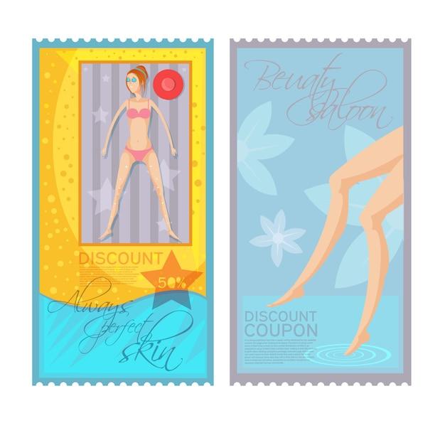 Los boletos coloridos del cupón del descuento de la depilación fijaron con la mujer joven y las piernas femeninas aisladas en el fondo blanco