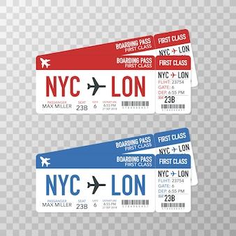 Boletos de embarque de la aerolínea al avión para el viaje.