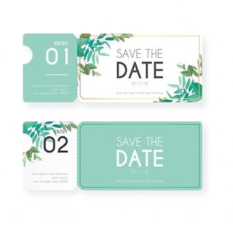 Boletos florales para la invitación de la boda