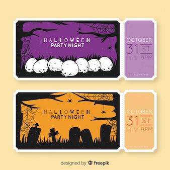 Boletos de halloween dibujados a mano con calaveras y lápidas