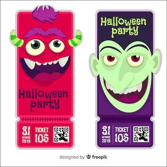Boletos de halloween con diseño plano