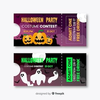 Boletos de halloween de diseño plano