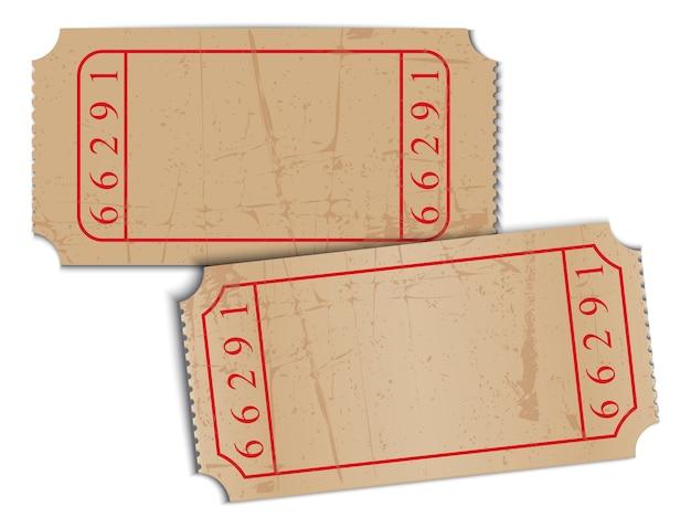 Boletos de papel vintage en blanco