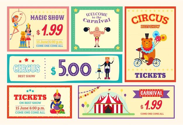 Los boletos de la tarjeta del cartel de la bandera de la diversión del circo fijaron la ilustración. diferentes espectáculos de circo, carnaval, espectáculo de magia, animales salvajes entrenados, aviadores y atletas.
