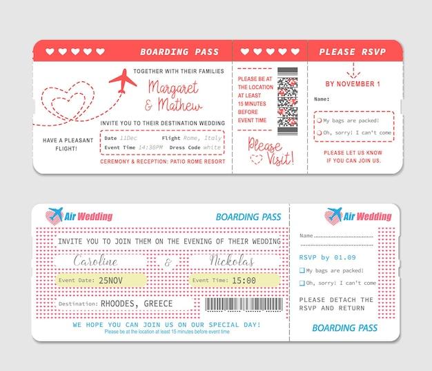 Boletos de la tarjeta de embarque, plantilla de invitación de boda.