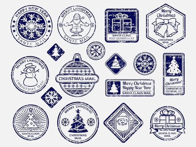 Bolígrafo conjunto de sellos de correo de santa