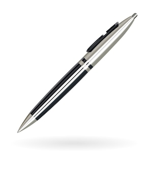 Bolígrafo de lujo real color negro y plateado